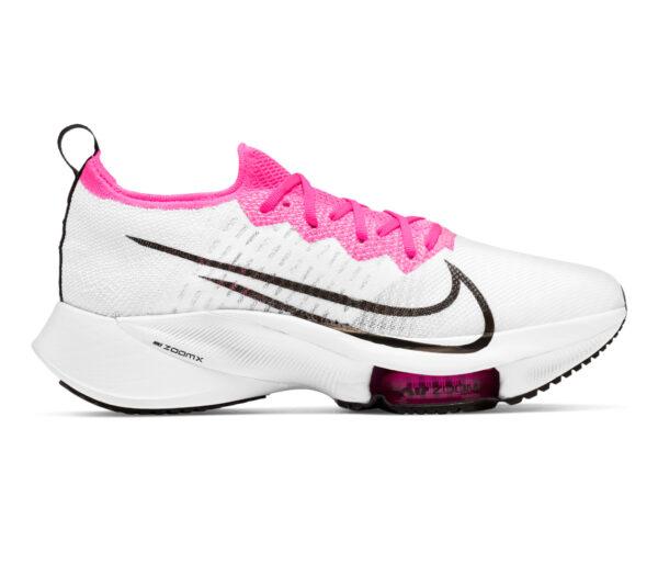 scarpa running donna nike zoom tempo % bianca e rosa