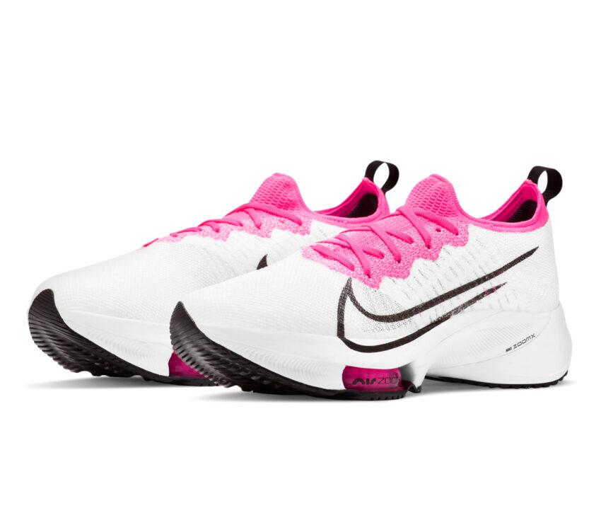 coppia scarpa running donna nike zoom tempo % bianca e rosa