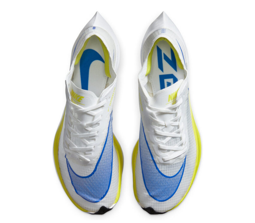 sopra scarpa da running fibra di carbonio nike zoomx vaporfly bianca