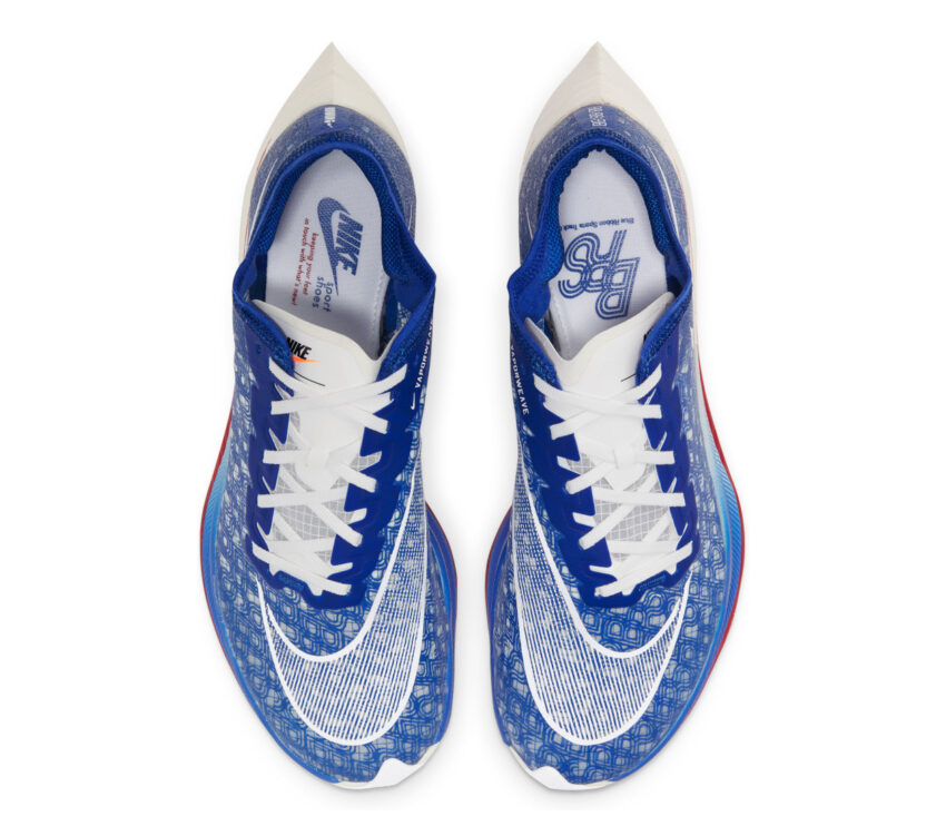 tomaia scarpa da running in fibra di carbonio nike vaporfly zoomx blu