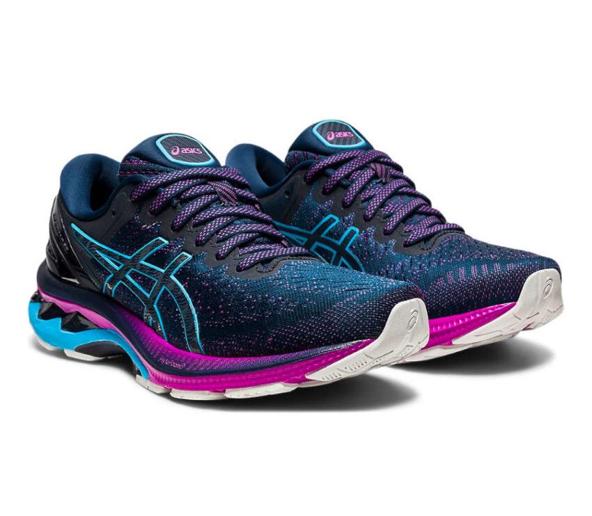 coppia scarpa asics kayano 27 donna blu e viola
