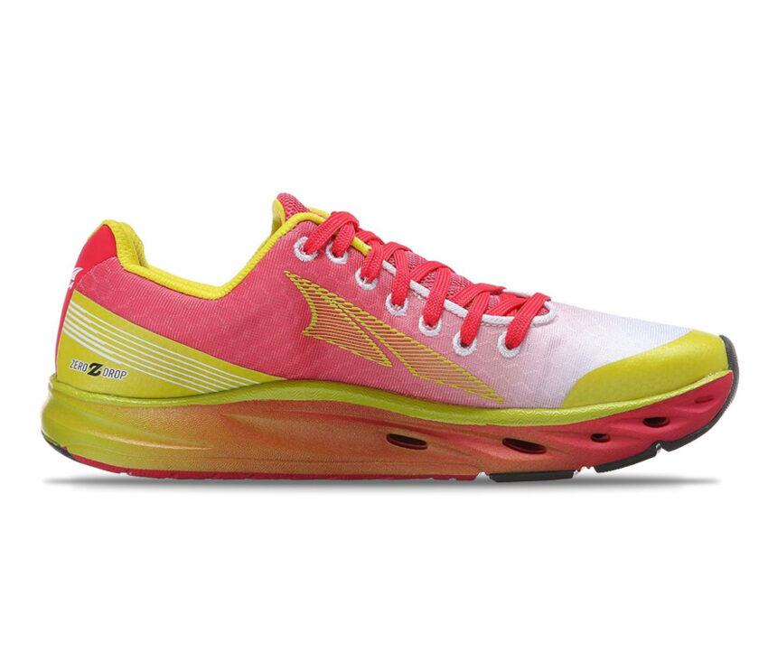 scarpa running da donna altra impulse rosa e gialla