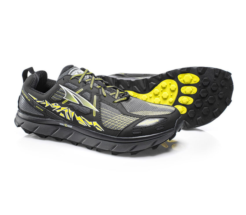 coppia scarpe da trail running per uomo altra lone peak 3.5 nere e gialle