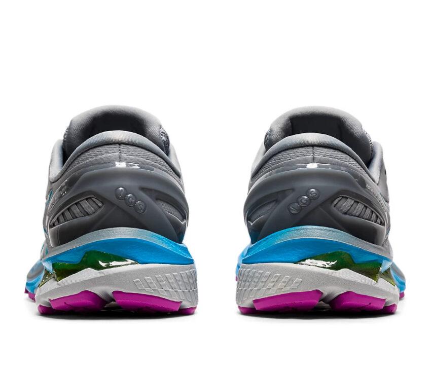 retro coppia scarpe asics gel kayano 27 grigia, viola e celesti
