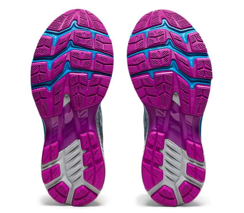 suola coppia scarpe asics gel kayano 27 viola e celesti