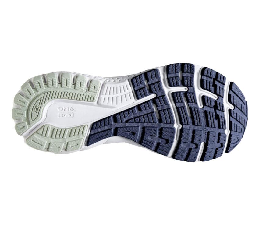 suola bianca, grigia e blu scarpa running donna brooks adrenaline gts 21