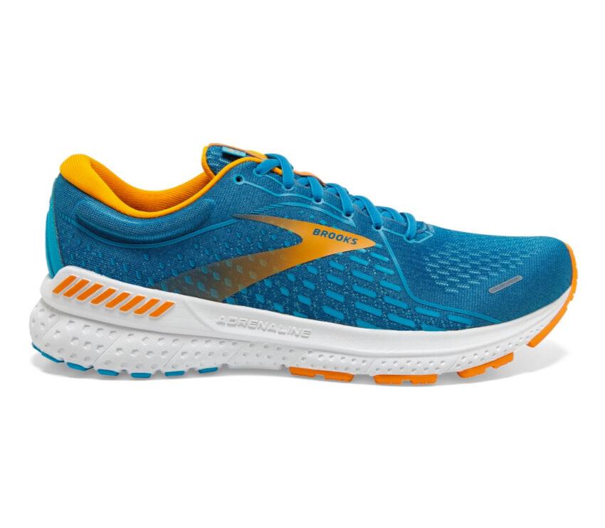 scarpa da running pronazione uomo brooks adrenaline gts 21 azzurre arancio