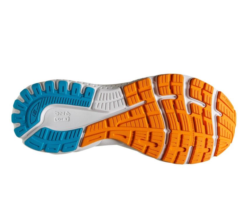 suola scarpa da running pronazione uomo brooks adrenaline gts 21 azzurre arancio