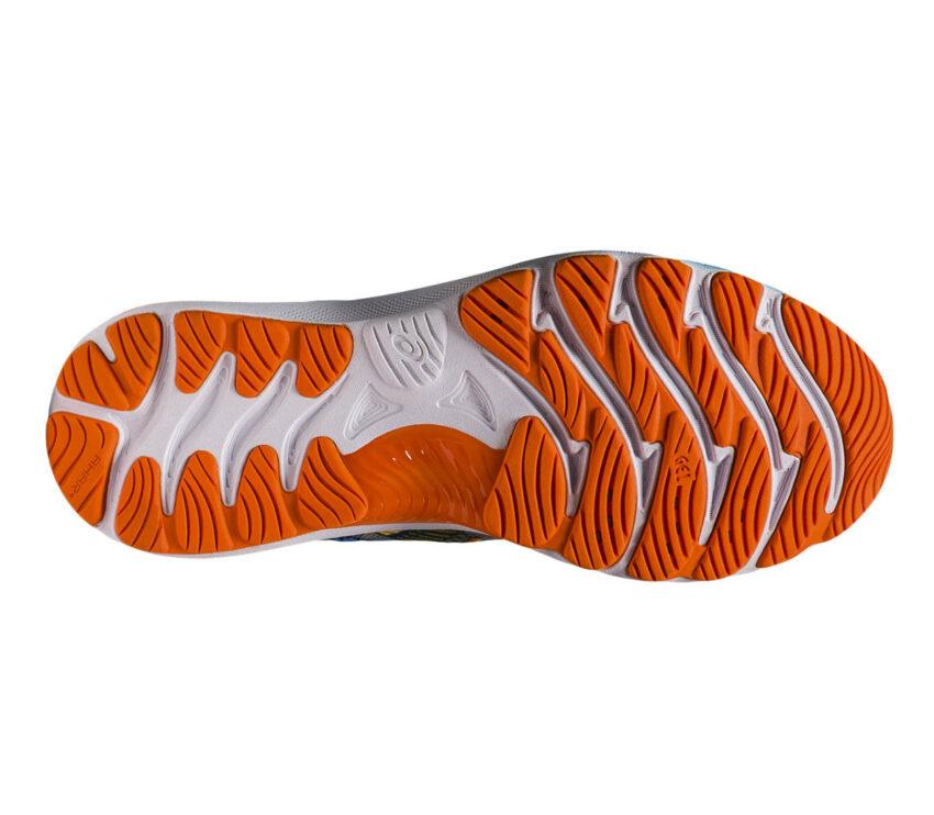 suola scarpa da running uomo asics gel nimbus 23 bianca e arancione