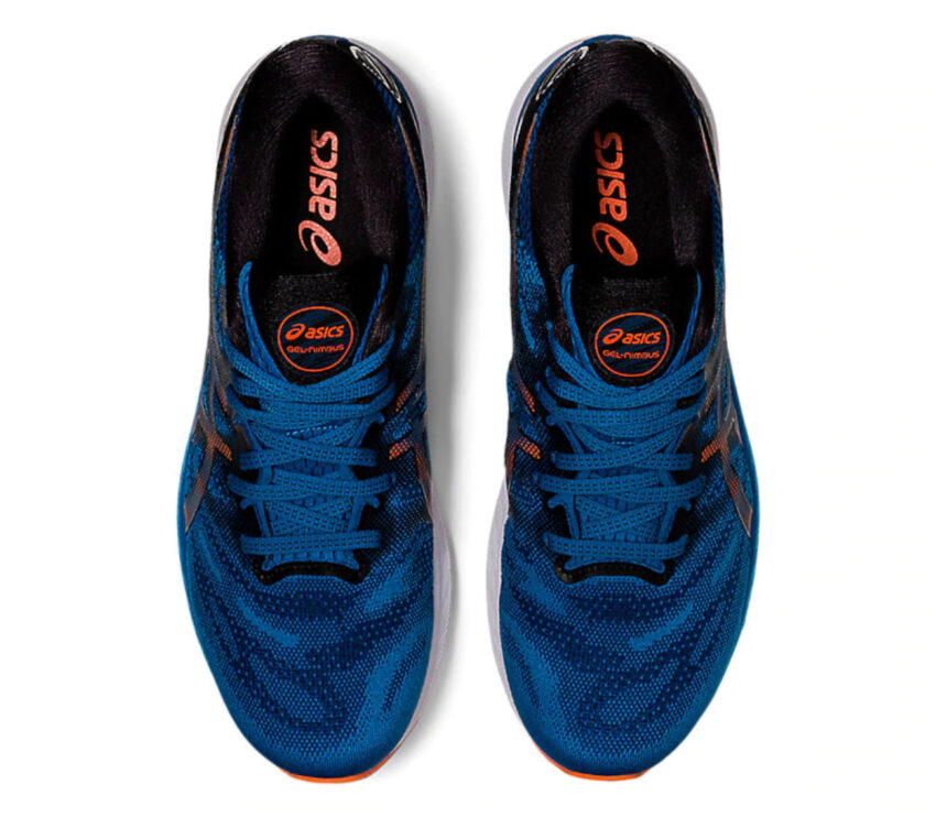 tomaia asics gel nimbus 23 uomo blu e arancione