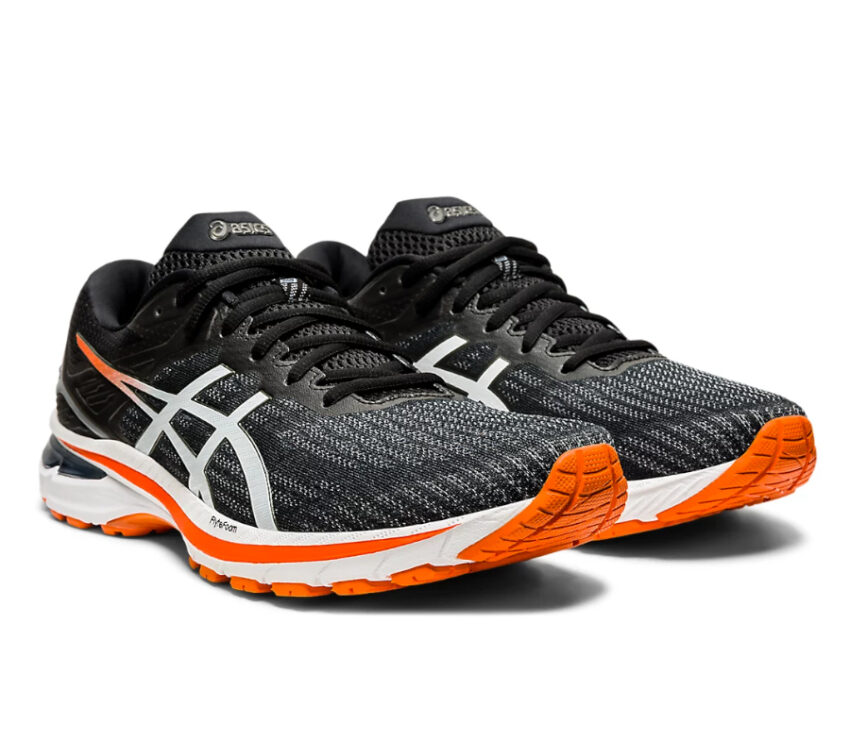 coppia scarpe asics gt 2000-9 nere, bianche e arancioni
