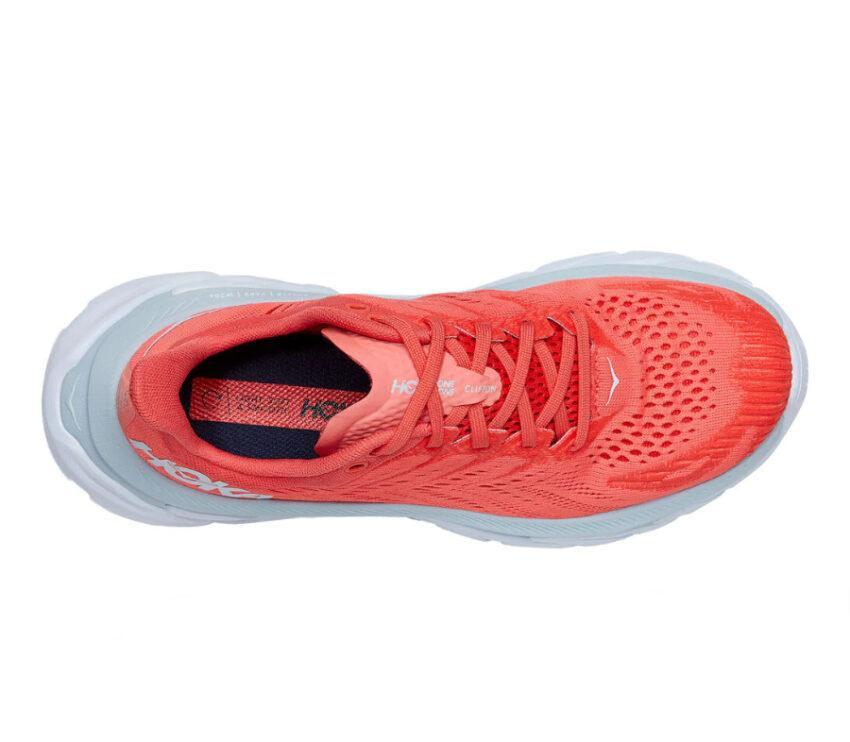 tomaia scarpe da running hoka clifton edge rosse donna