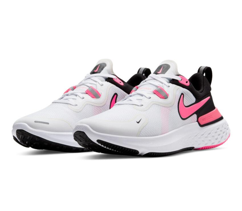 coppia scarpa nike react miler donna rosa e bianco