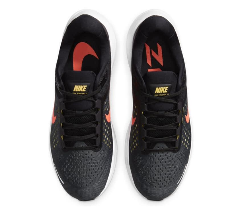 tomaia scarpa running pronatori nike structure 23 uomo nera e rossa
