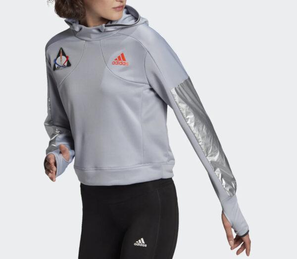 felpa adidas donna running space hoody grigia