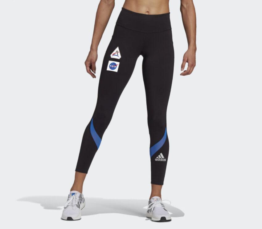leggins running donna adidas space tgh neri con logo nasa