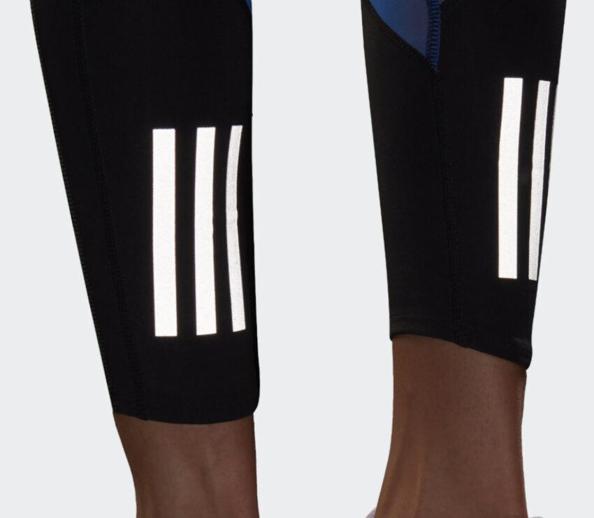 dettagli catarifrangenti leggins running donna adidas space tgh neri con logo nasa