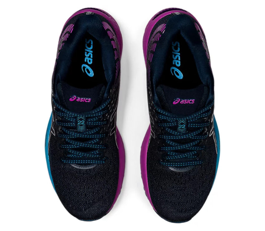 tomaia scarpa da running donna asics gel cumulus 22 viola e azzurra