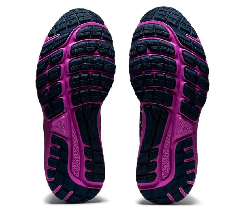 suola scarpa da running donna asics gel cumulus 22 viola e azzurra