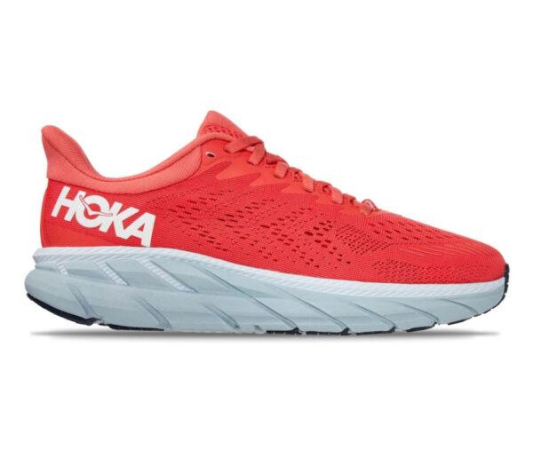 scarpe da running hoka clifton 7 rosse donna