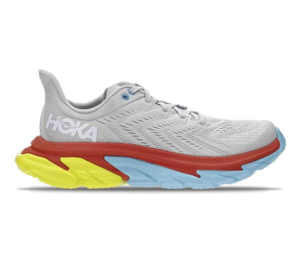 scarpe da running hoka clifton edge grigie e gialle uomo