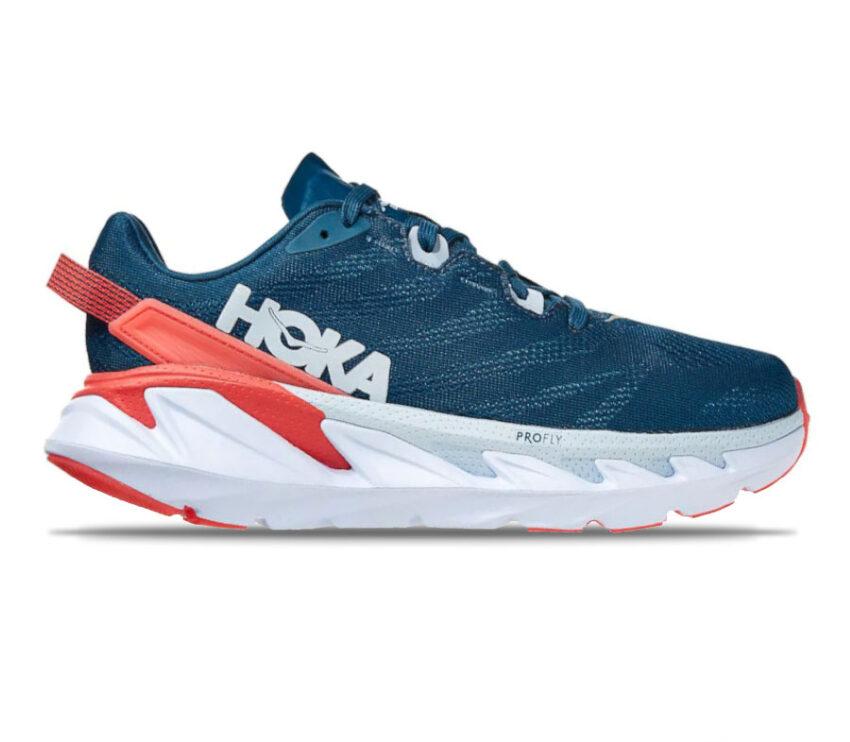 scarpe running donna hoka elevon 2 blu e rosse