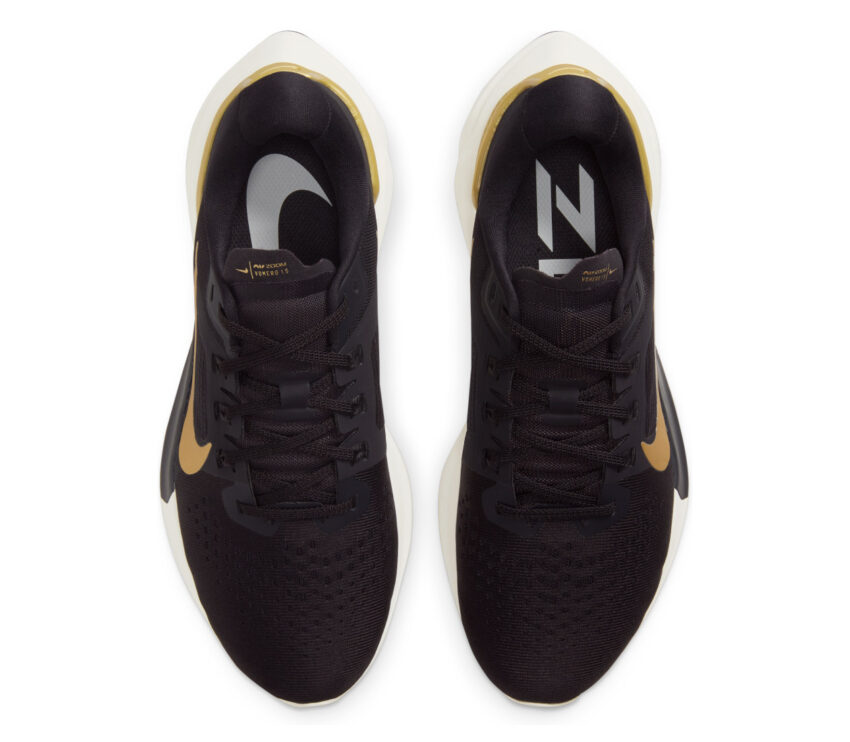 tomaia nike vomero 15 donna scarpa running nero e oro