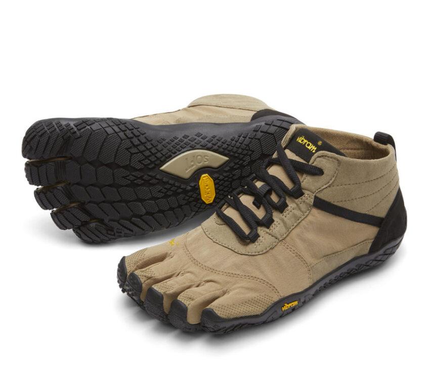 coppia scarpe running uomo beige vibram fivefingers v trek