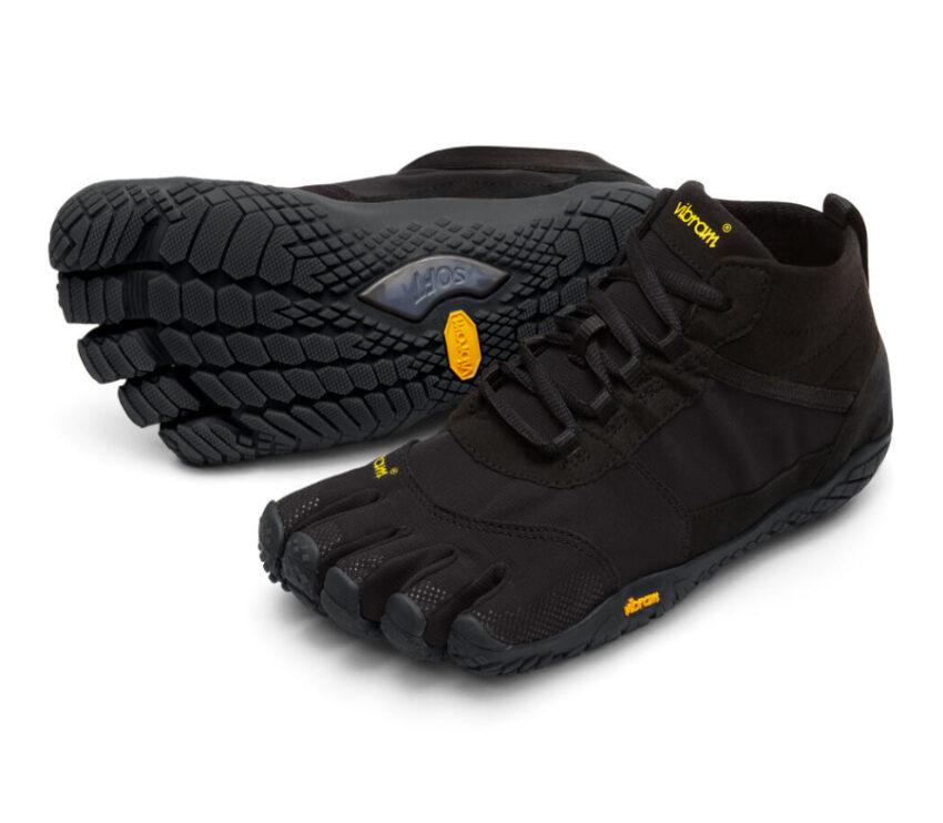 coppia scarpe running uomo nere vibram fivefingers v trek