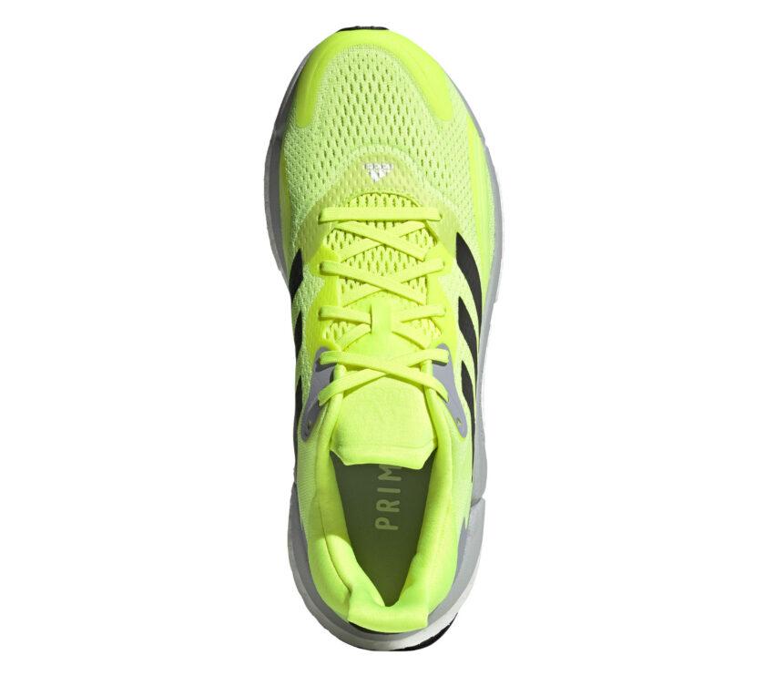 scarpa running uomo adidas solar boost 3 gialla, grigia e nera vista da sopra