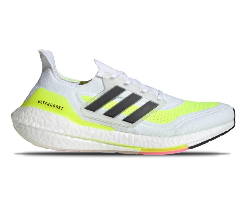 scarpa running adidas ultraboost 21 bianca e giallo fluo da uomo