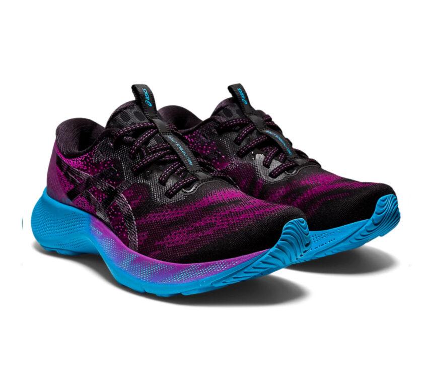scarpe asics gel nimbus lite 2 donna blu, nere e viola