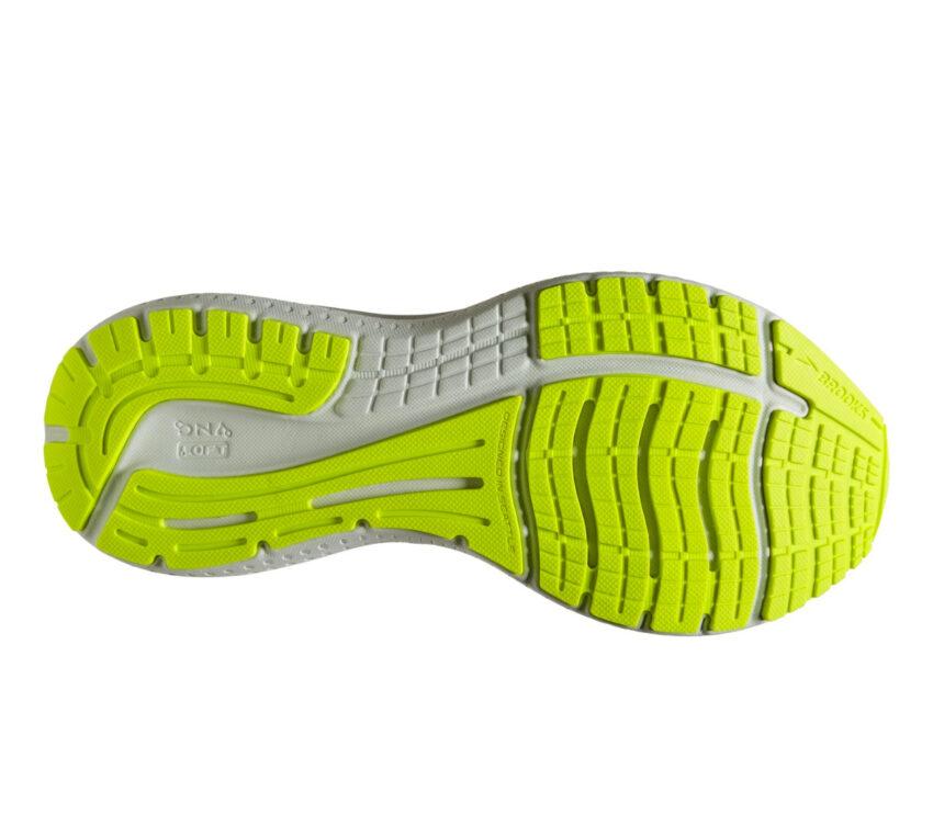 suola scarpa running neutra ammortizzata donna brooks glycerin 19 nera e fluo