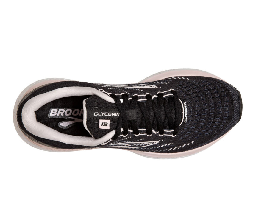 scarpa brooks glycerin 19 donna da running nera e rosa vista da sopra