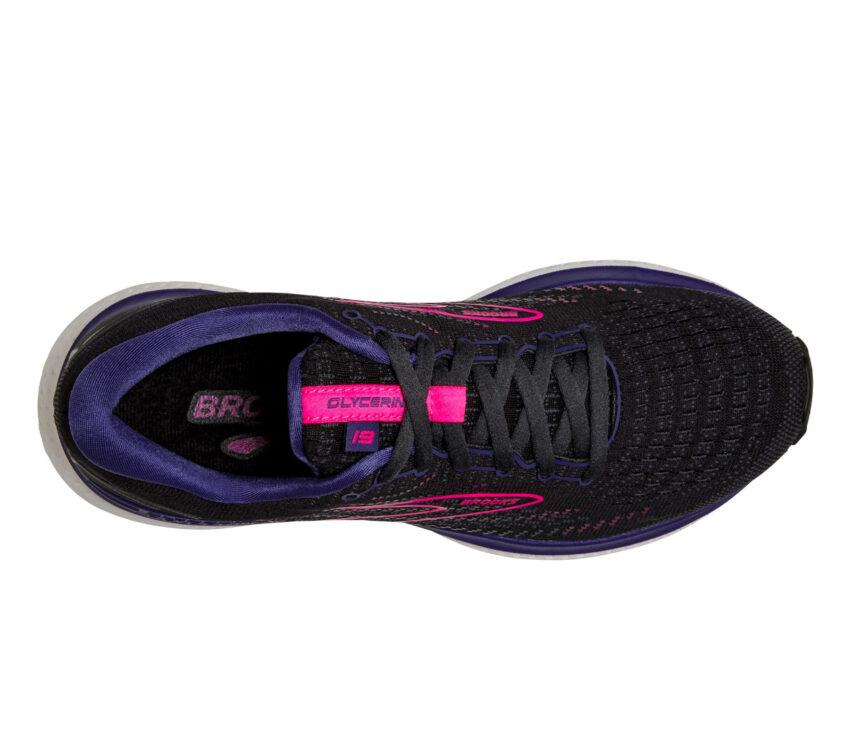 tomaia scarpa running donna brooks glycerin 19 nera e viola