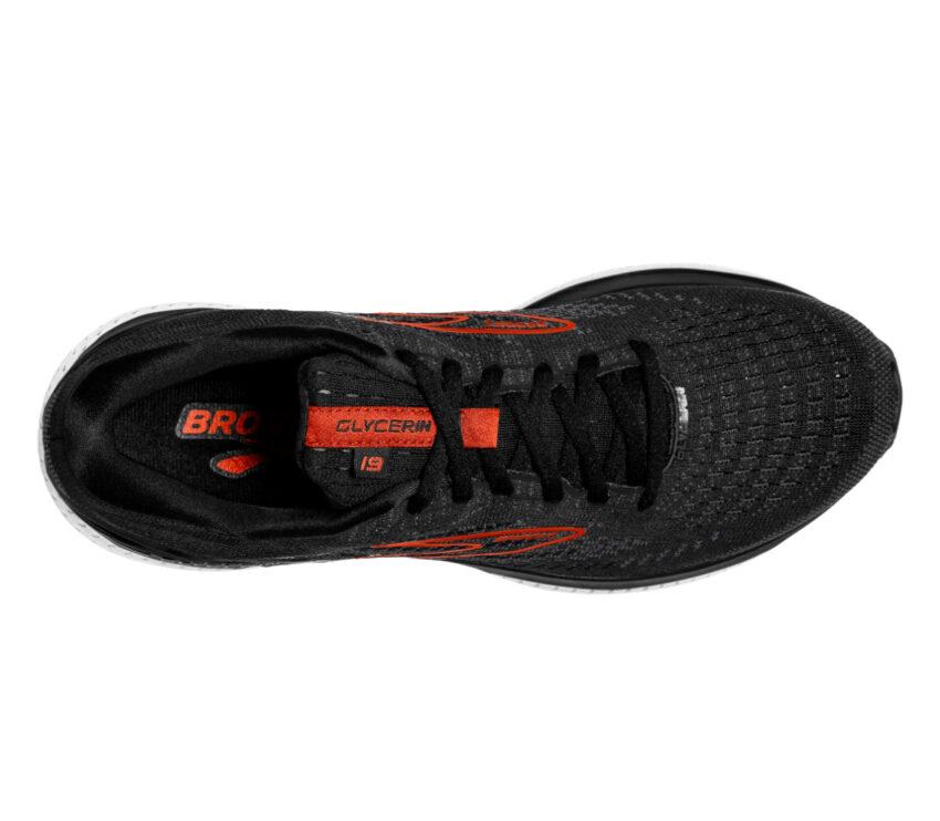 scarpa running da uomo nera brooks glycerin 19 ammortizzata vista da sopra