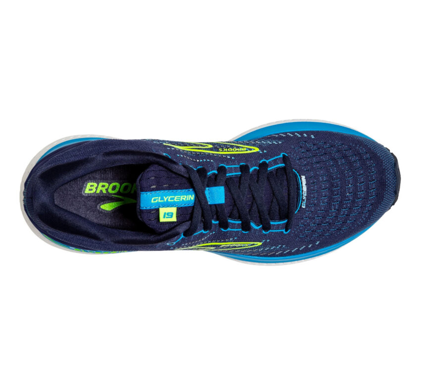 scarpa running uomo brooks glycerin 19 blu vista da sopra