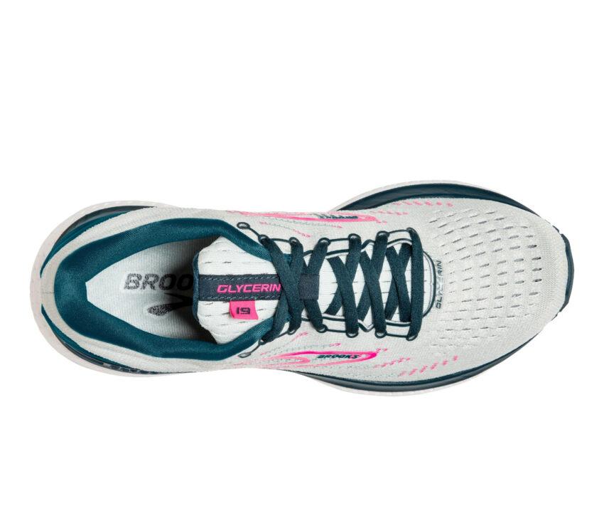 tomaia scarpa da running stabile da donna brooks glycerin gts 19 grigio rosa