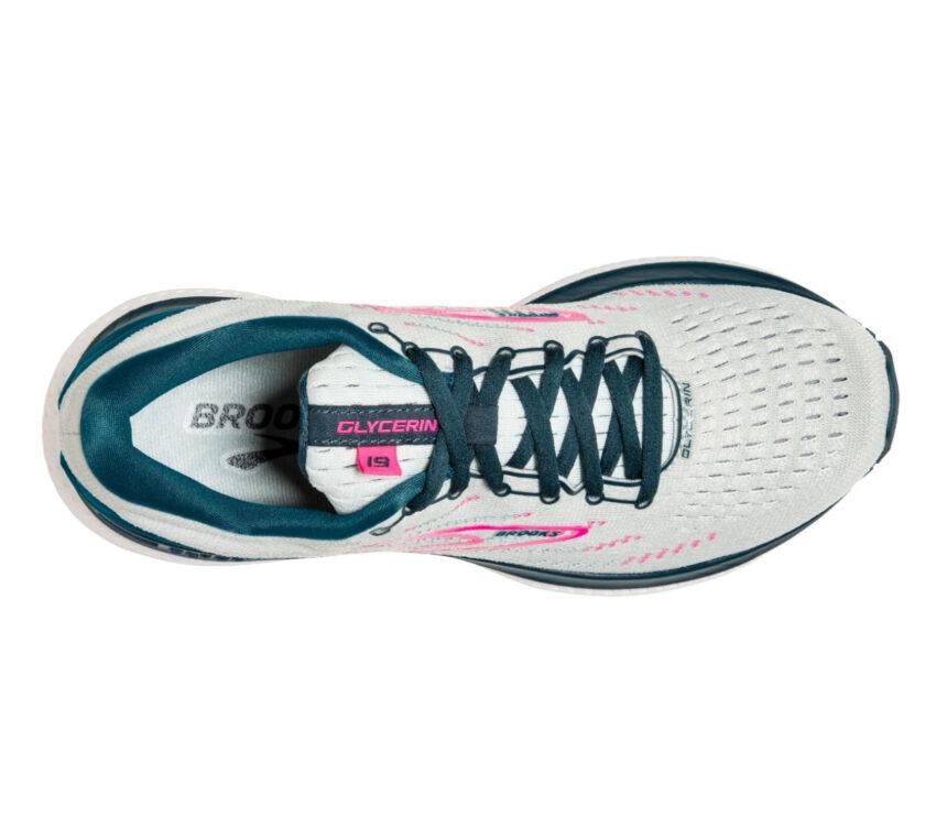 scarpa running donna brooks glycerin 19 bianca vista da sopra