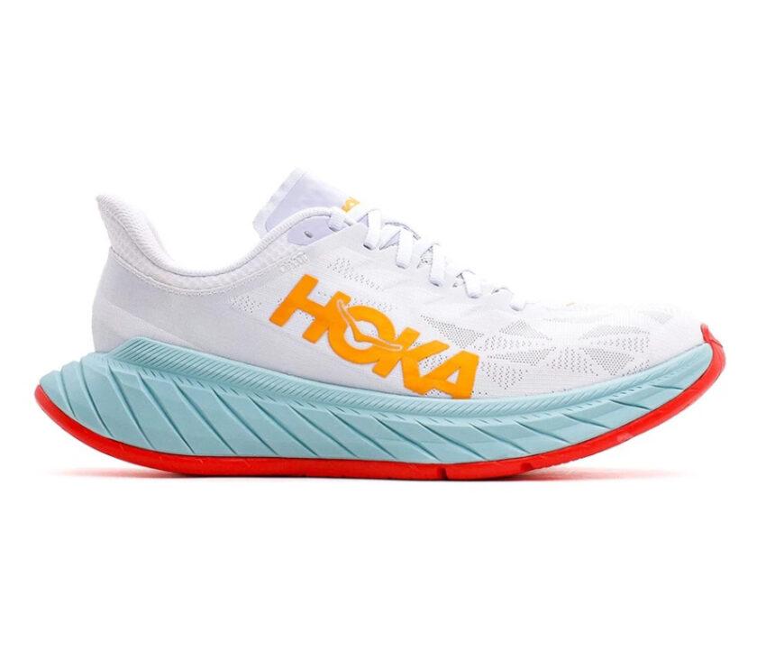 scarpa da running donna hoka carbon x 2 bianca e azzurra