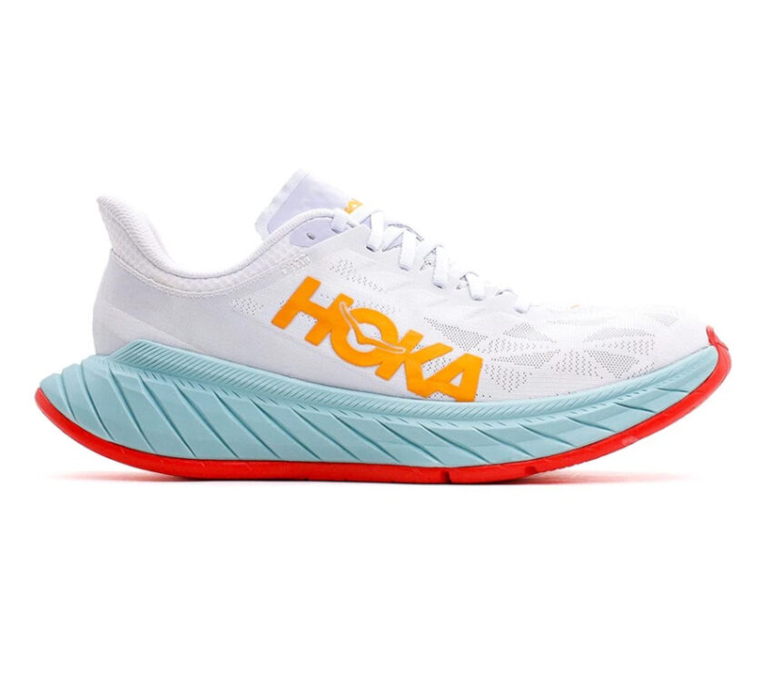 scarpa da running con suola in fibra di carbonio hoka carbon x 2 bianca e azzurra