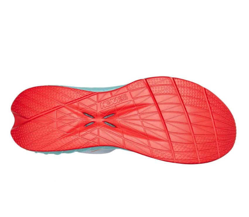 suola scarpa da running con suola in fibra di carbonio hoka carbon x 2 bianca e azzurra