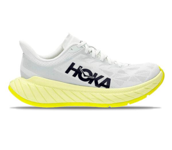 scarpa running donna hoka one one carbon x 2 bianca e gialla