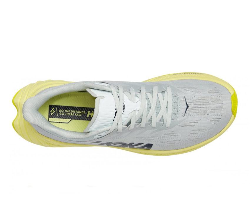 scarpa running donna hoka one one carbon x 2 bianca e gialla vista dall'alto