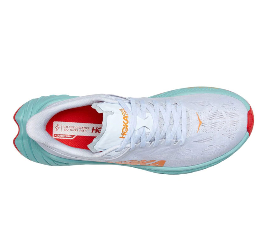 tomaia scarpa da running donna hoka carbon x 2 bianca e azzurra