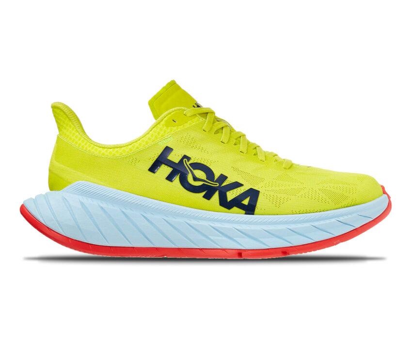 scarpa da running fibra di carbonio hoka carbon x2 gialla