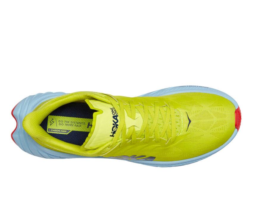 tomaia scarpa da running fibra di carbonio hoka carbon x2 gialla