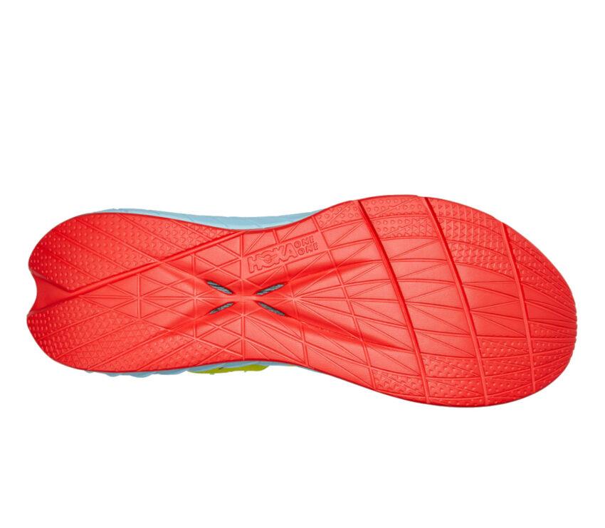 suola scarpa da running fibra di carbonio hoka carbon x2 gialla