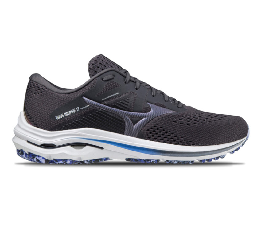tomaia scarpa da running stabile mizuno wave inspire 17 nera e blu uomo