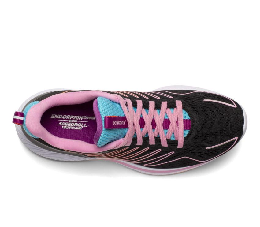 tomaia scarpa da running donna saucony endorphin shift nera e rosa
